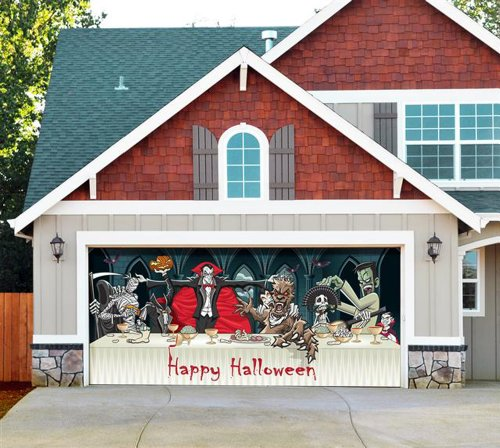 Great stuff garage door halloween decorations for Christmas garage door mural