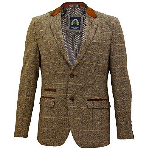Mens-Marc-Darcy-Vintage-Tweed-Check-Blazer-Jacket-DX7-Tan-42-106cm