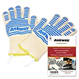 Ankway BBQ Grill Gloves - Thick Insulated Oven Mitts for Grilling, Cooking, Baking (Blue)