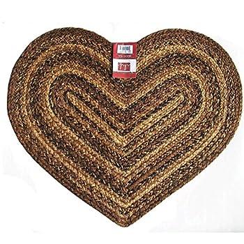 IHF Home Decor Cappuccino Heart Jute Braided Rug 20 x 30 Inch