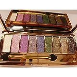 Gogomg Women 9 Colors Waterproof Makeup Glitter Eyeshadow Palette with Brush