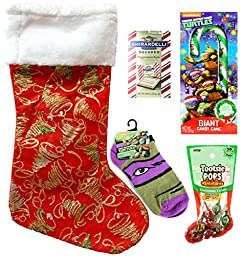 TMNT Teenage Mutant Ninja Turtles Holiday Red Christmas Stocking Gift Bundle (5 Pieces)