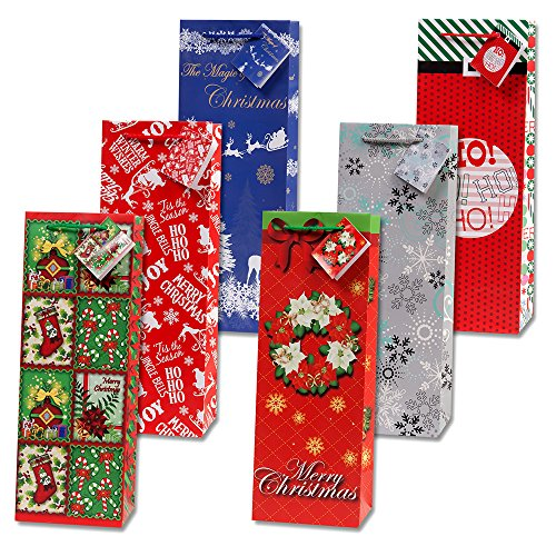Gift Boutiqe Christmas Wine Gift Bags - Set of 12!