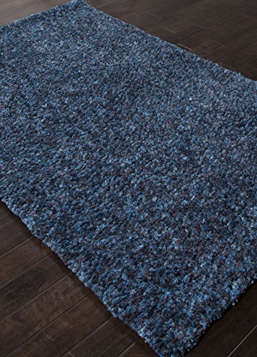 Addison and Banks Shag Solid Pattern Polyester Area Rug, 2 by 3-Feet, Blue