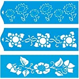 """Set of 3 - 11"""" x 3.3"""" (28cm x 8cm) Reusable Flexible Plastic Stencil for Graphical Design Airbrush Decorating Wall Furniture Fabric Decorations Drawing Drafting Template - Sunflowers Leaves"""