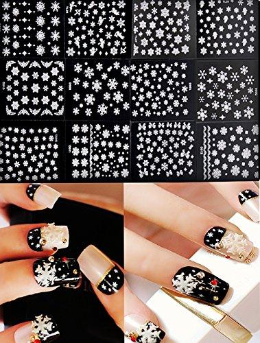 Chinatera 12 Sheet Christmas Snowflake 3D Nail Art Sticker
