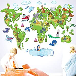 ufengke® Dibujos Animados Mapa del Mundo Colorido Animales Encantadores Delfines Lindo del Pingüino Pegatinas de Pared, Vivero Habitación de Los Niños Removible Etiquetas de La Pared / Murales por Ufingo