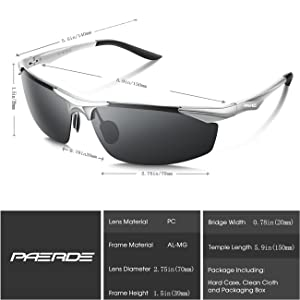 55e881d1ce PAERDE Men s Sports Style Polarized Sunglasses for Men Driving Fishing  Cycling Golf Running Al-Mg Metal ...