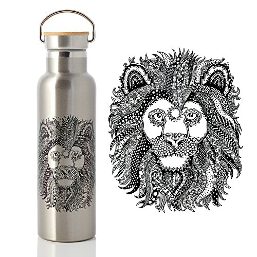 abataka-stainless-steel-water-bottle-600ml-bamboo-lid-with-airtight-vacuum-seal-lion-style-artwork-d