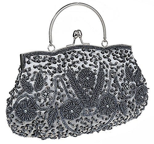 Albabara Satin Beaded Handmade Clutch Purse Evening Handbags,Grey (Vintage Clutch compare prices)