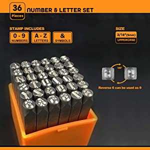 OWDEN Professional 36Pcs. Steel Metal Stamping Tool Set,(3/16) 5mm,Steel Number and Letter Punch Set,Alloy Steel Made HRC 58-62 for Jewelry Craft Stamping. (Tamaño: 3/16 5mm)