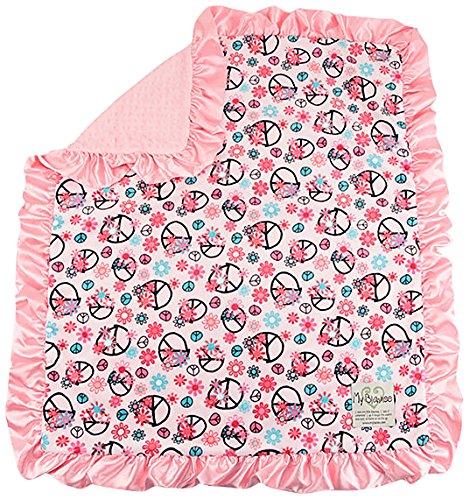 """My Blankee Peace Flower Minky Pink w/ Minky Dot Pink Baby Blanket, 30"""" x 35"""""""