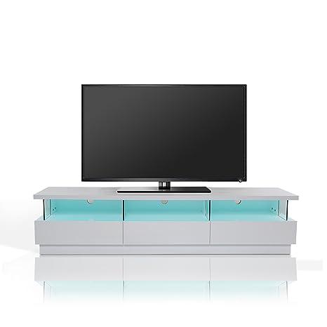 Homcom® TV Lowboard LED Fernsehtisch TV Board Fernsehschrank mit Beleuchtung, MDF, hochglanz, weiß, 180x40x45cm (Modell3)