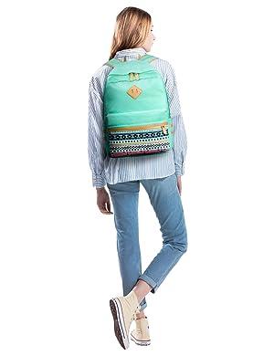 Leaper Canvas Laptop Bag School Backpack Shoulder Bag Purse Pen case Water Blue (Color: Water Blue [8864L 3pcs], Tamaño: Large)