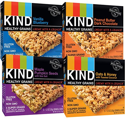 KIND Healthy Whole Grains Granola Snack Bars, (Count 4) Variety Pack with Peanut Butter and Dark Chocolate, Vanilla Blueberry, Oats & Honey and Maple Pumpkin Seeds Flavors (Kind Bars With Yogurt compare prices)