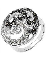 5.20 Grams Marcasite & White Cubic Zircon .925 Sterling Silver Ring - B00XPMBQYO