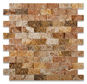 scabos 1 x 2 split faced travertine brick mosaic tile