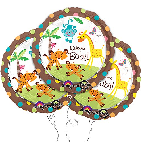 "Welcome Baby Animal Themed 18"" Round Mylar Balloon 3pk - 1"