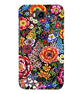PrintVisa Colorful Flower Pattern 3D Hard Polycarbonate Designer Back Case Cover for Huawei Honor Bee