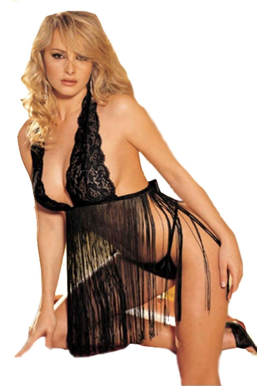 Moin Sexy Damen Nachtmäntel mit String Nachtkleid Spitze Satin Nachthemd Unterwäsche Dessous Kimono Negligee Neckholder Schwarz Größe M