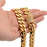 Heavy 8-18mm Cut Curb Cuban Mens Chain Boys 316L Stainless Steel Necklace With Crystal Buckle(14mm_16