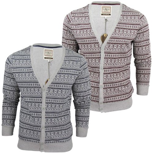Mens Brave Soul Aztec Nordic 'Eusebio' Knit Cardigan/ Jumper Button Up - Wine [Small]