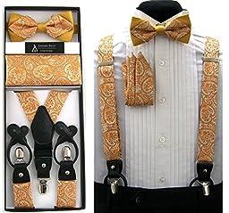 Formal Gold Orange Black Paisley Convertible Suspenders Pre-tied Bow Tie & Hanky Set