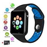 Smart Watches, JACSSO Touch Screen Bluetooth Smartwatch with Camera, Android Smart Watch/ Sport Smart Wrist Watch Compatible Android Samsung LG Phones iOS iPhone Men Women (Included 16G Memory Card ) (Color: Blue)