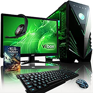 "VIBOX Apache Package 9 - 4.0GHz Six Core, R9 280, Extreme, Desktop Gaming PC, Computer Complete Full Package with Windows 8.1 Operating System, WarThunder Game Bundle, 22"" Monitor, Gamer's Keyboard, Mouse & Headset, High Speed WiFi Adapter AND a Neon Green Internal Lighting Kit PLUS a Lifetime Warranty Included* (New 4.0GHz AMD FX 6300 Fast Six 6-Core Processor, 3GB AMD Radeon R9 280 Advanced Graphics Card, 1TB Hard Drive, 16GB 1600MHz RAM, Raijintek Aidos CPU Fan Cooler, 600W 85+ PSU)"