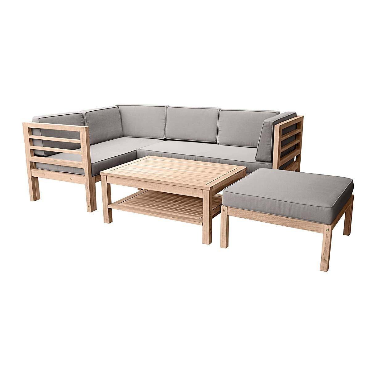 Gartenmöbel-Set variabel platzierbar 2 Sitzelemente 1 Gartentisch 1 Hocker-Sessel Akazien-Holz inklusive Auflagen Braun Grau