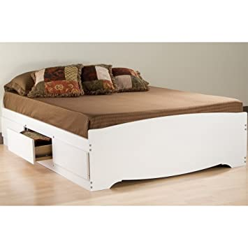 Prepac White Full Mate_s Platform Storage Bed with 6 Drawers