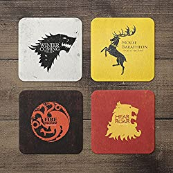 nish! Game of Thrones Collection   House (Stark, Baratheon, Targaryen, Lannister) Sigils   Wooden Coasters (MDF, 4