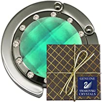 Chatt Green with 12 Swarovski PP24 Crystal FOLDING Purse Hook & Pouch in Gift Box