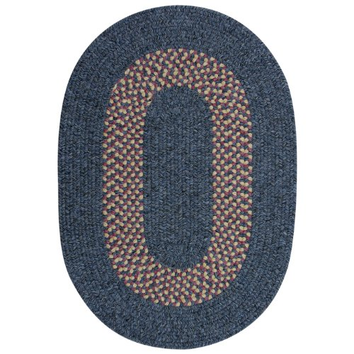ITM Patriotic Collection Heathered Indoor/Outdoor Braided Rug, 27-Inch by 48-Inch, Blue Band