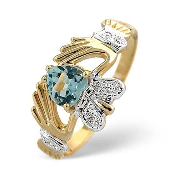 TheDiamondStore | Ring - Heart Shaped Claddagh Blue Topaz & Diamond - 2.5mm Band Width - 9K Gold