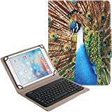 Universal Bluetooth Keyboard Case for Tablet, Peacock,DICHEER 2-in-1 Wireless Detachable Removable Keyboard Leather Case for iPad,Android,Windows Tablet (9-10 inch) + Card Slots and Kickstand (12)