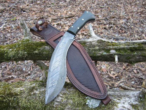 Damascus Steel Kukri Knife Micarta Handle 14""