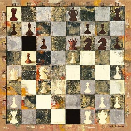 Alu-Dibondbild Whites move de Juta & Mareks, 90 x 90 cm, diseño de hasta en los bordes, artístico, carteles, E de la pintura, diseño de ajedrez, juego de mesa, de centro de, oficina, Social de reducida, médico, de alta cali