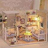 Qearly-Holz-Material-Miniatur-Puppenhaus-Mini-Haus-LED-Licht-DIY-Dollhouse-Kit-Moebel-Geschenk-Mit-Abdeckung-Kitten-Tagebuch