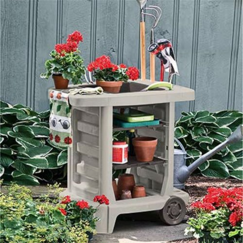 Suncast GC1500B Portable Outdoor Gardening Center With Interchangeable  Shelves, Tool Storage And Utility Bin,
