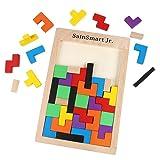 SainSmart Jr. Wooden Tetris Puzzle 40 Pcs Brain Teasers Toy for Kids, Wood Puzzle Box Brain Games Wood Burr Tangram Jigsaw Toy Children Days (Color: Tetris Puzzle)