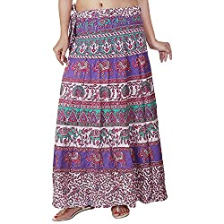 Femezone Women Animal Print Cotton Long Wrap Around Skirt Open Waist (multi 1)
