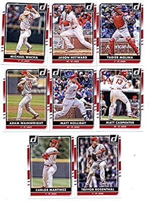 2016 Donruss Baseball St. Louis Cardinals Team Set of 8 Cards: Yadier Molina(#82), Matt Carpenter(#89), Michael Wacha(#97), Jason Heyward(#112), Trevor Rosenthal(#121), Carlos Martinez(#127), Adam Wainwright(#133), Matt Holliday(#144) in Protective Snap C