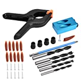 34pcs 15° Drill Guide Set Pocket Hole Jig Drilling Kit Woodworking Oblique Positioner Locator Tool