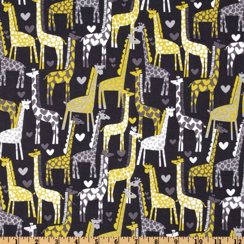 Michael Miller Giraffe Love Gray Fabric By The Yard (Giraffe Quilt Fabric compare prices)