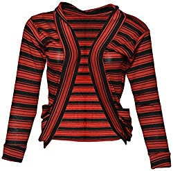 StyleU Girl's Semicotton Jacket (STU098, Red & Black, M)