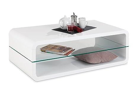 Couchtisch Sofatisch Wohnzimmertisch NESTOR 1 | 120x60 cm | Weiß Hochglanz | Glasplatte