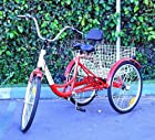 New 6-Speed 24 3-Wheel Adult Tricycle Bicycle Trike Cruise Bike W/ Basket - Red