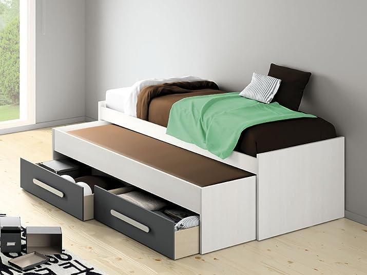 Letto Estraibile 90x 200–Rete e cassetti inclusi grigio