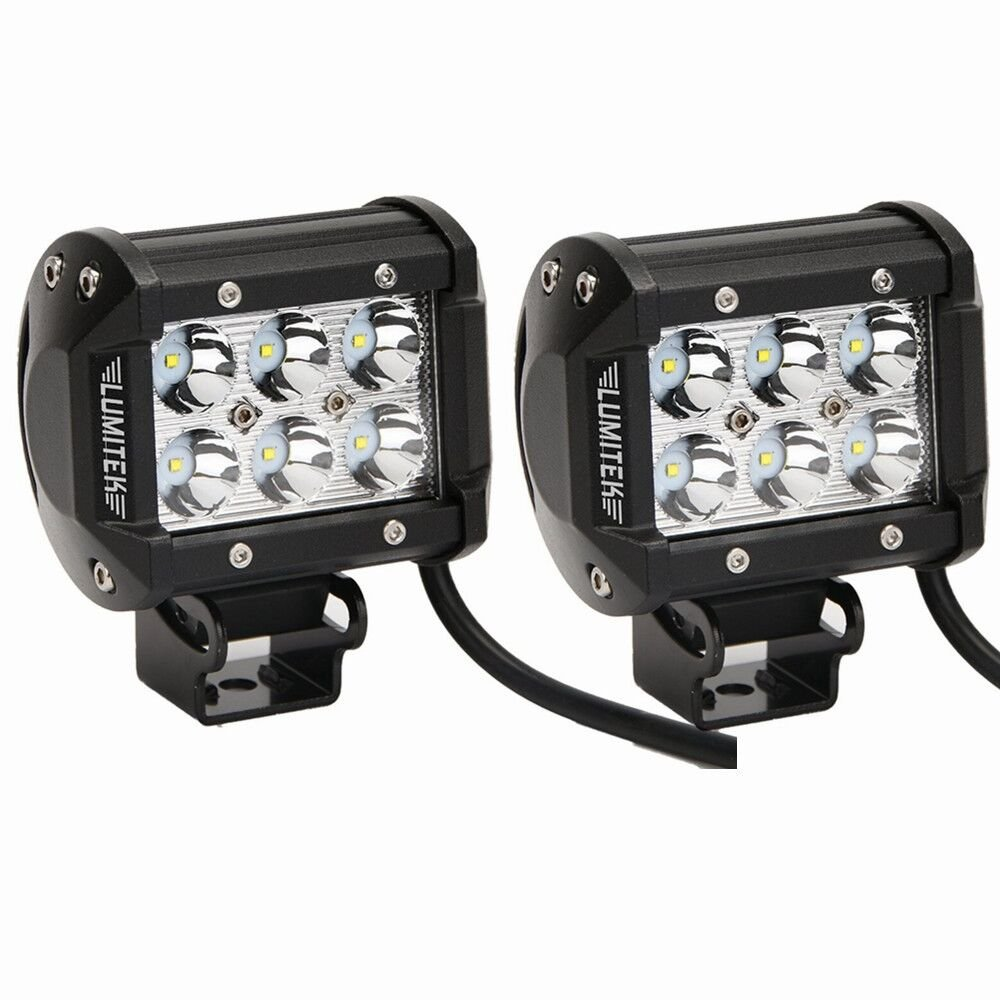Lumitek 18w Cree Led Work Light Bar Off-road SUV Boat 4x4 Jeep Lamp 4wd Spot Led Work At 4x4 Off-road SUV Boat (Park of 2)